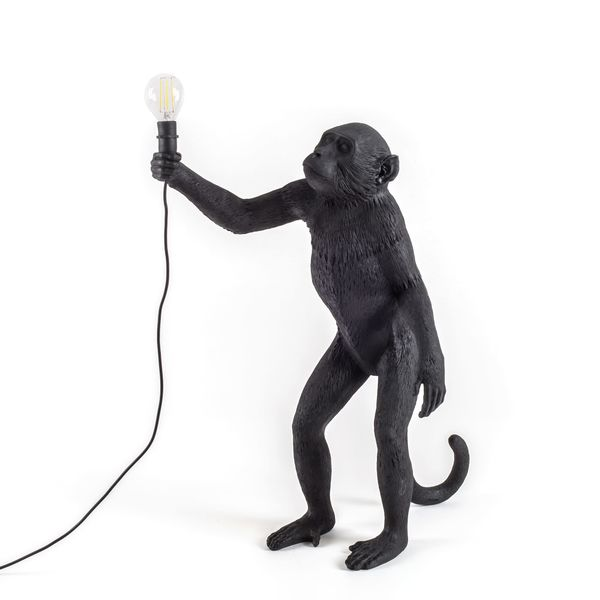 Seletti Standing Monkey Lamp Black Outdoor